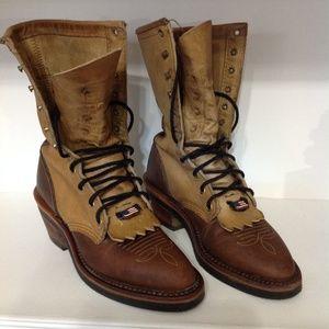 Chippewa USA Size 6M Women Stacked Heel  Brown